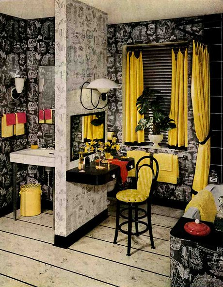 Vintage bathroo... Yellow And Black Bathroom